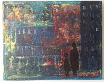 Painting: Alone in the city / Tavla; Ensamma i stan
