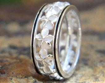 Hawaiian Silver Black Border Plumeria Flower Lei Wedding Ring Band 6mm