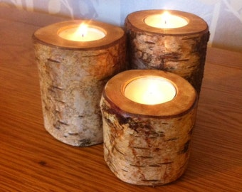 Rustic, Elegant Silver Birch Wooden Tea Light Holders - Great Gift