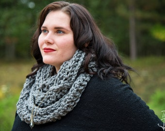 Triple Loop Gray Infinity Scarf