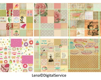 12 Kitchens backgrounds INSTANT DOWNLOAD cooking paper decoupage Digital Collage Scrapbooking