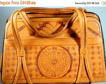 ON SALE NOW Vintage Leather Southwest Hand Tooled Mayan Purse