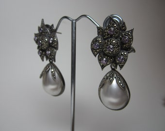 Judith Jack Vintage Sterling Silver Marcasite Amethyst Earring