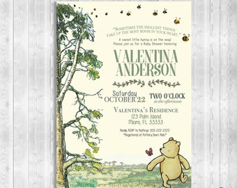 Classic Winnie the Pooh Baby Shower Invitation, Winnie the Pooh Baby Shower Invitation, Classic Winnie the Pooh Baby Shower, Winnie the Pooh
