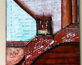 Earthy feel modern acrylic painting on canvas