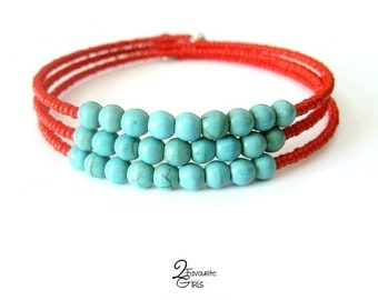Red and Turquoise Bead Bracelet