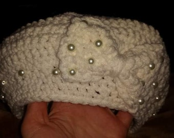 white beret with pearls