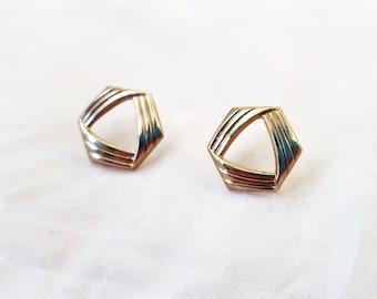 Vintage Minimalist Hexagon Earrings