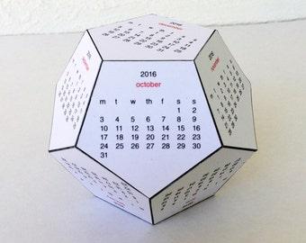 2016 Dodecahedral Desk Calendar - Printable PDF, Instant Download