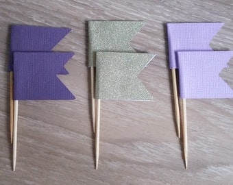 Cupcake toppers, 24 Flag cupcake toppers, Purple  and gold glitter, Food Picks, Flag food pick,  baby shower, first birthday, christening