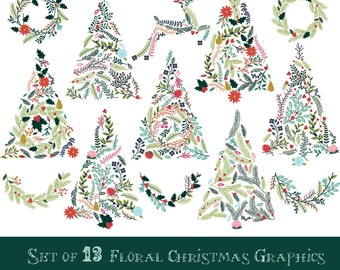 Floral Christmas Trees and Buntings Graphics