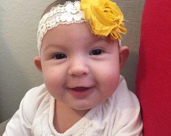 Mustard Lace Chiffon Baby Headband
