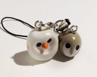 Two owls polymer clay keychain