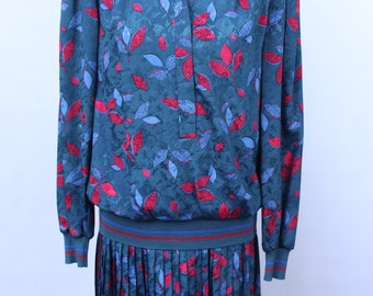 1980s Drop Waist Presence Dress Leaf Print Elasticated 80s Retro Style Blue Green Red Size 10 38 Beautiful Vintage