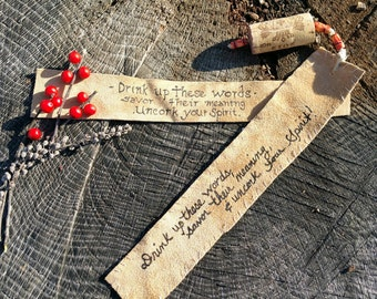 Suede and Recycled Cork Bookmark