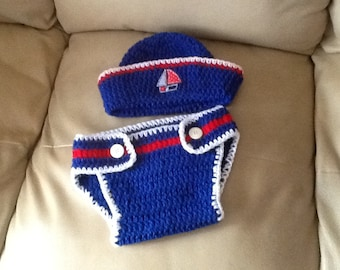 Baby Sailor Outfit, Crochet, Handmade. Made to order! Any color, any size