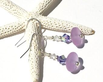 Sea Glass Earrings, Lavender Fields: purple sea glass, Swarovski Crystal earrings, drop earrings, handmade earrings, beach wedding (ER1032)