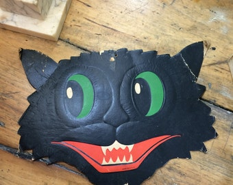 Vintage Cardboard Halloween Cat Face