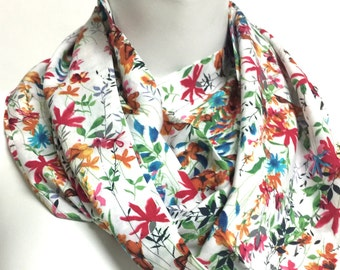Spring Flowers Scarf Infinity Scarf summer Garden Scarf Floral Print Scarf Women Fashion Accessories Gifts for Her