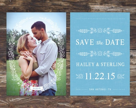 Country Bluebonnet Flowers Photo Save-the-Date
