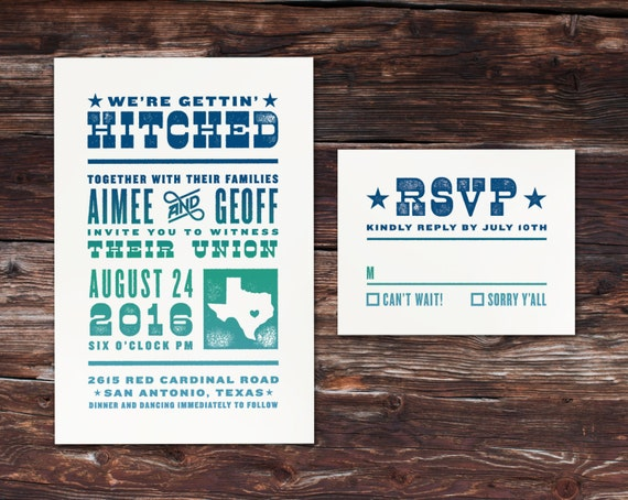 Rustic Gettin' Hitched Wedding Invitation