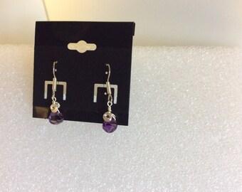 Amethyst earrings, surgical steel ear wire