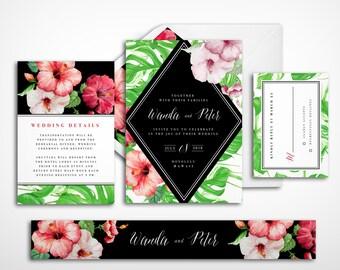 Beach wedding invitation, Green wedding invitation, Destination wedding invitation, Tropical wedding invitation, Island wedding