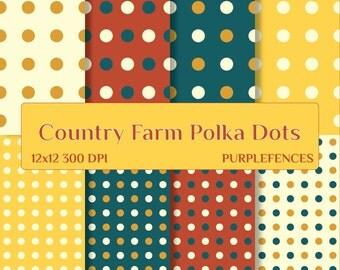 Country Farm POLKA DOTS Scrapbook DIGITAL Paper / Card Making, Scrap Booking Paper/Instant Download/Printable/Polka Dot