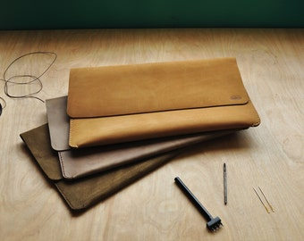 Personalised Simple Camel Brown Leather Clutch / Leather Handbag / Carry All / Purse