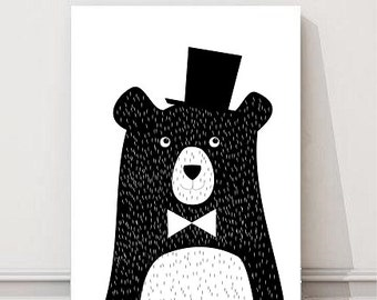 Nursery Art Print - Childrens Decor, Baby's Nursery, Kids Wall Art Bear a4 (20x30 cm  8x10'')