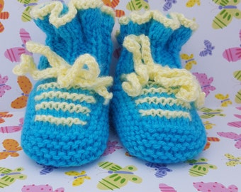 Knitted baby booties- Multi color, Blue or White