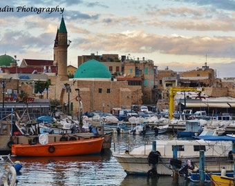Boats in Harbor in Acco (Acre) at sunset, Israel Photo; Arab Market; Turrets and Fishing ships; Travel Photography - JYRadin Photography
