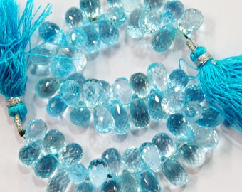 natural gem stone blue topaz faceted tear drop briolettes beads complete strand top quality 250 carats 8 inches 6 @ 8 mm