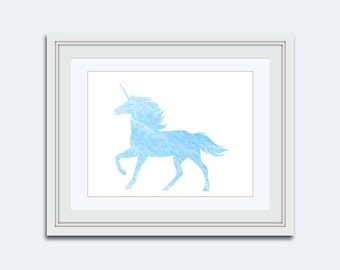 Unicorn printable - blue unicorn - Watercolor print - unicorn wall art Print - Nursery decor - kids room art - unicorn Room Decor - sky blue