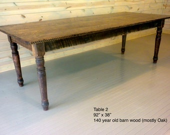 Superb Harvest Table, Repurposed Wood, Dining Table, Old Growth Wood, Oak Table,