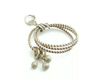 Vintage Sterling Silver Twisted Wire Ball Pendant
