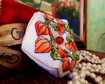 "Handmade embroidery floss biscornu Biscornu ""Physalis"" autumn leaves"