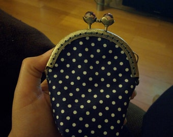 Cute coin purse made with metal frame polka dots fabric