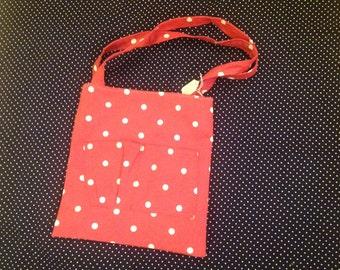 White polka dot small tote bag