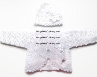 White baby bolero easter baby girl outfit baby shower gift going home outfit baby girl jacket crochet baby sweater
