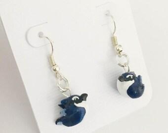 Blue Jay Bird Earrings