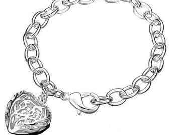 Silver Chunky Hollow Heart Bracelet