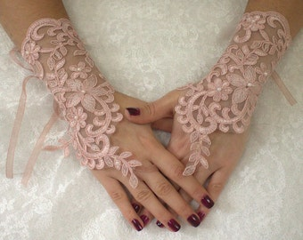 Wedding Gloves,Pink Lace Gloves Free Ship, Bridal glove,fingerless,pink pearl processing, lace gloves, fingerless gloves