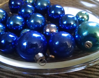 Christmas bulbs, christmas ornaments, Glass balls, glass bulbs,Vintage christmas bulbs, vintage christmas, christmas tree, cobolt blue, mini