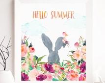 Summer Print Art, Summer printable, rabbit summer printable, summer is coming print, watercolor summer print, watercolor printables summer