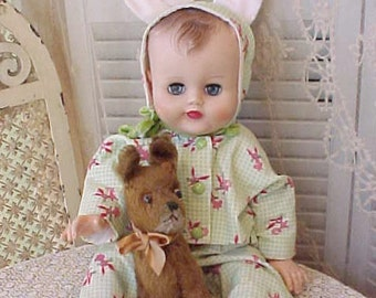 Adorable Bunny Jammies or Outfit for a 1950's Doll