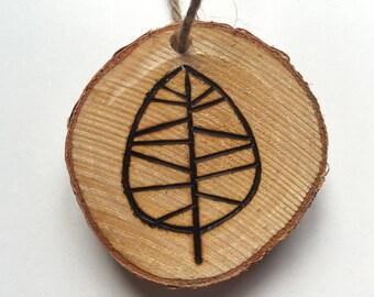 Wood-Burned Leaf Ornament