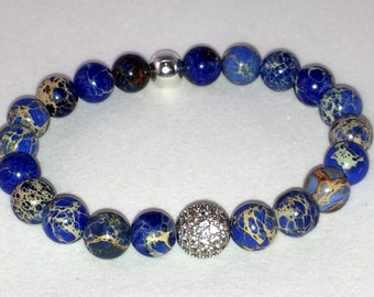 8mm Blue Imperial Jasper with one 10mm Silver plated Micro Pave' CZ beads bracelet