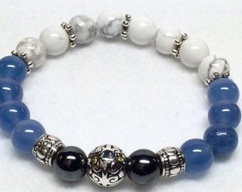 White Howlite Bracelet, Aventurine, Hematite, BoHo, Yoga, Pewter beads, Gemstone Bracelet, White Jewelry