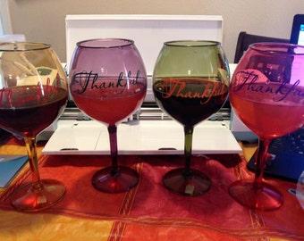Thankful Wine Glass